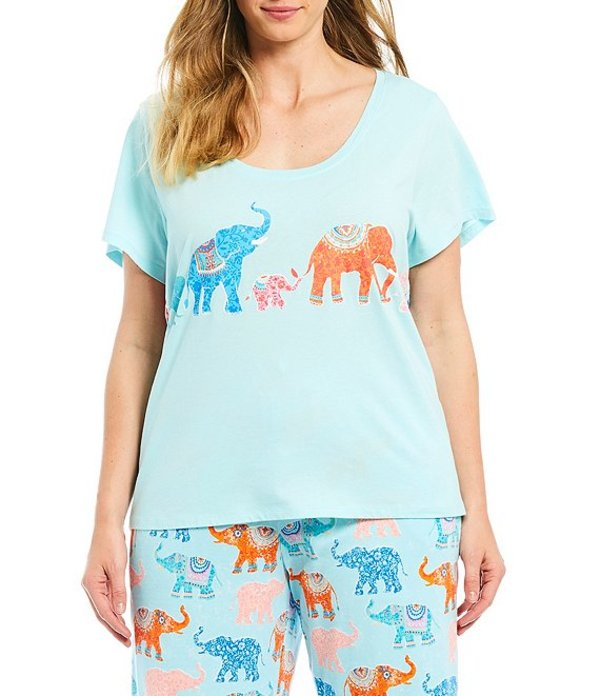 スリープ センス レディース ナイトウェア アンダーウェア Plus Elephant Walk Screen-Print Knit Sleep Tee Iced Aqua