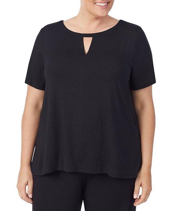 ダナキャラン レディース ナイトウェア アンダーウェア Plus Solid Jersey Knit Cutout Sleep Top Black