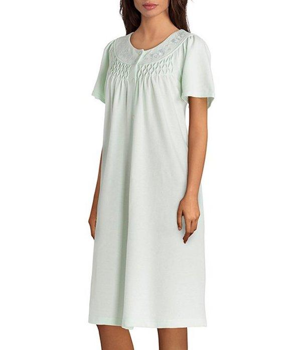ミス エレーン レディース ナイトウェア アンダーウェア Waffle-Knit Grip-Front Short Robe Mint