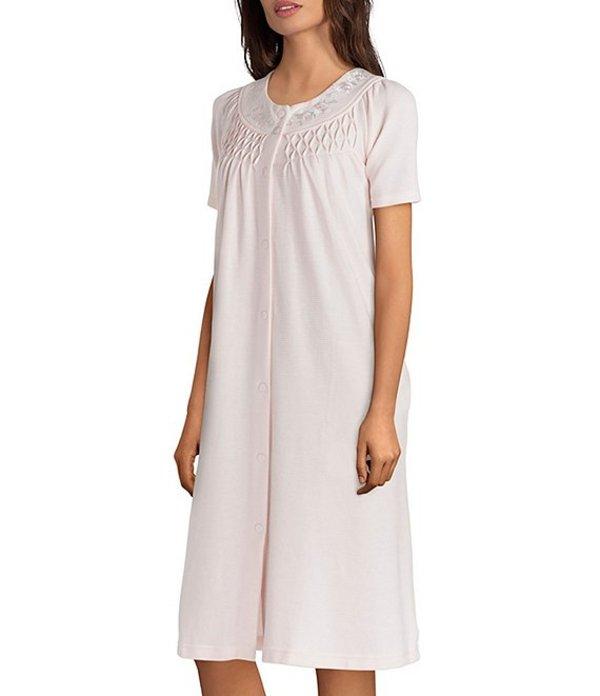 ミス エレーン レディース ナイトウェア アンダーウェア Waffle-Knit Grip-Front Short Robe Peach