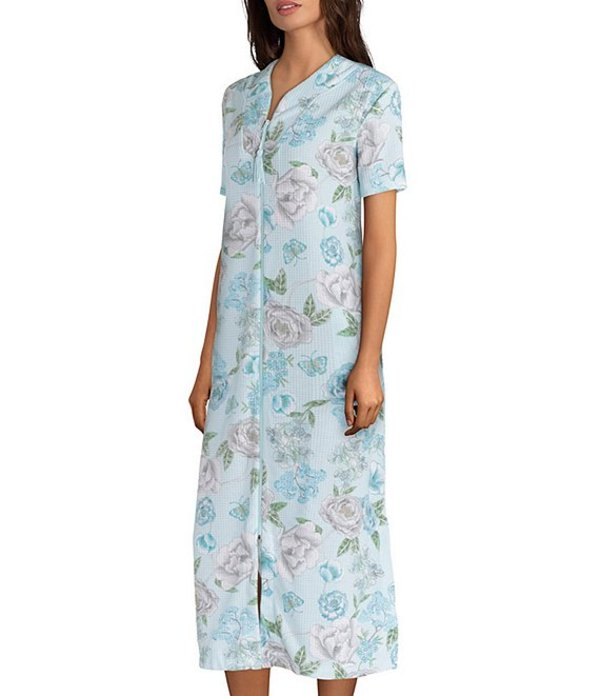 ミス エレーン レディース ナイトウェア アンダーウェア Etched-Floral Print Waffle Knit Zip-Front Long Robe Blue/Multi