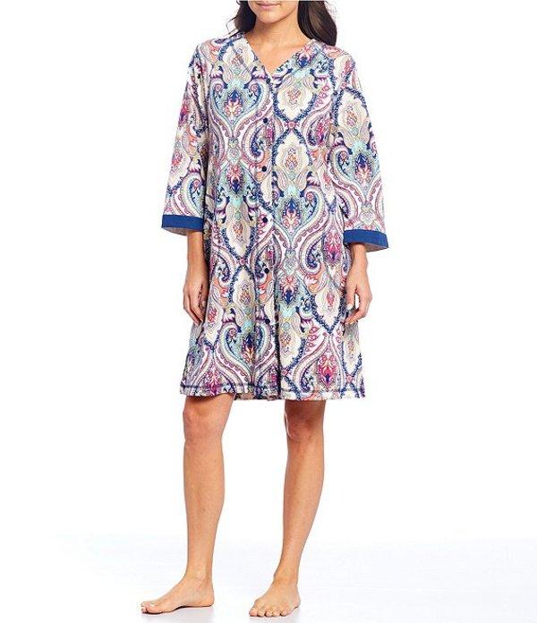 ミス エレーン レディース ナイトウェア アンダーウェア Interlock Knit Medallion Print Grip-Front Short Robe Multi