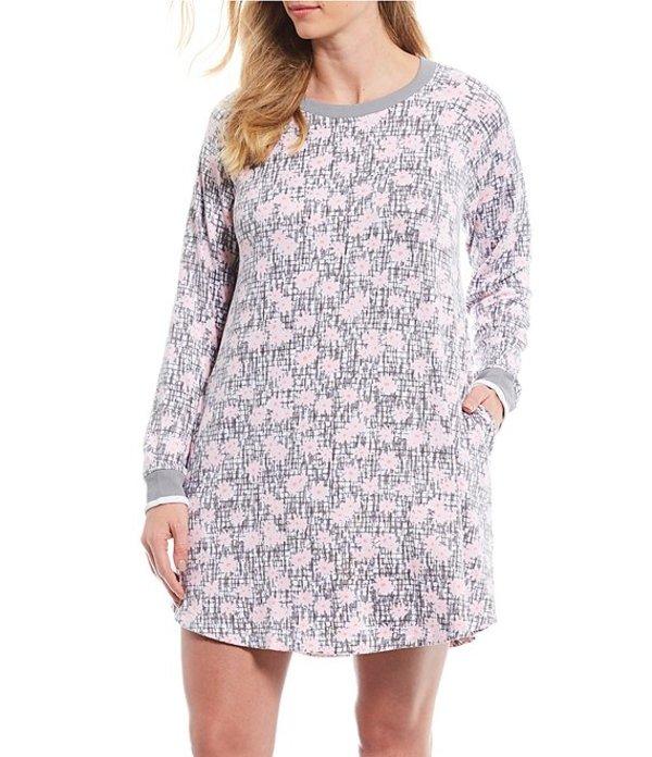 ケンジー レディース ナイトウェア アンダーウェア Plus Floral Print Brushed Jersey Knit Sleep Shirt Gray