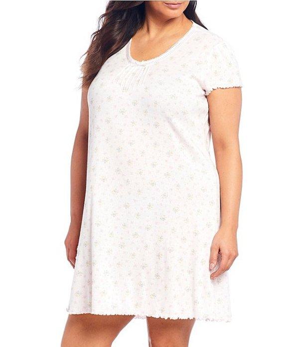 ミス エレーン レディース ナイトウェア アンダーウェア Plus Floral Print Brushed Ribbed Knit Nightgown Rose/Pink