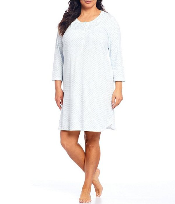 ミス エレーン レディース ナイトウェア アンダーウェア Plus Cottonessa Foulard Print Short Nightgown Blue/Multi