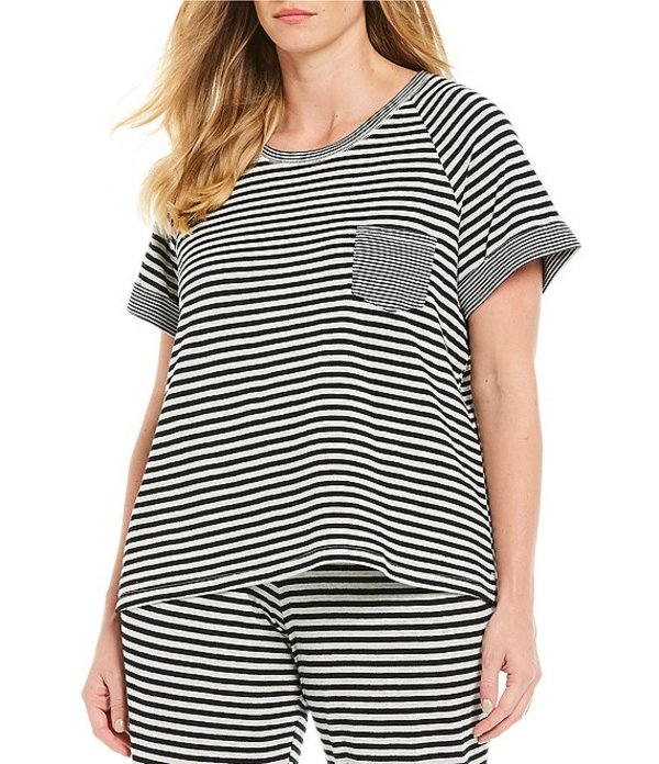 スリープ センス レディース ナイトウェア アンダーウェア Plus Stripe Print Knit Sleep Tee Black/Grey