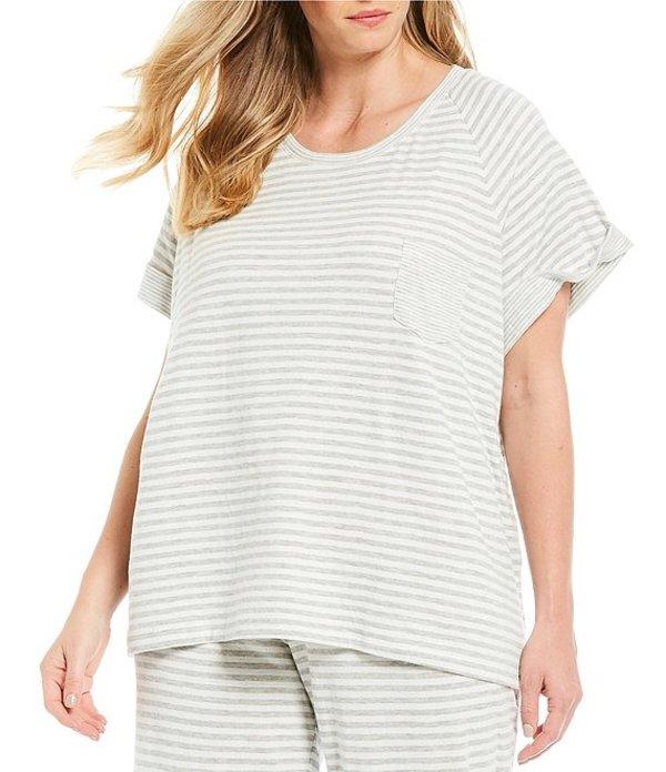 スリープ センス レディース ナイトウェア アンダーウェア Plus Stripe Print Knit Sleep Tee Grey/Soft White