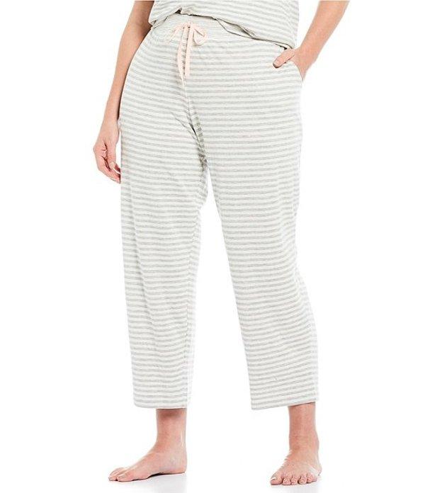 スリープ センス レディース ナイトウェア アンダーウェア Plus Striped Print Cropped Knit Sleep Pants Grey/Soft White