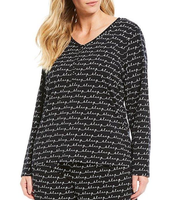 スリープ センス レディース ナイトウェア アンダーウェア Plus Sleep Words Printed Henley Knit Sleep Top Black