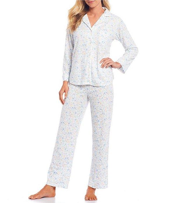 ミス エレーン レディース ナイトウェア アンダーウェア Honeycomb Floral Print Pajama Set Blue Multi