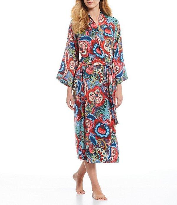 ナトリ レディース ナイトウェア アンダーウェア Paisley Bloom Satin Long Wrap Robe Tapestry/Multi