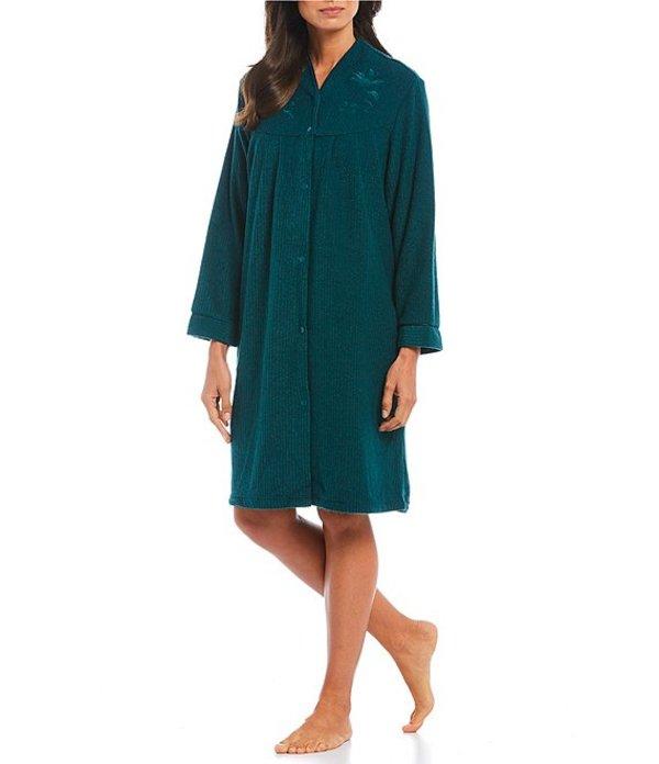 ミス エレーン レディース ナイトウェア アンダーウェア Brushed Back Terry Grip-Front Short Robe Emerald