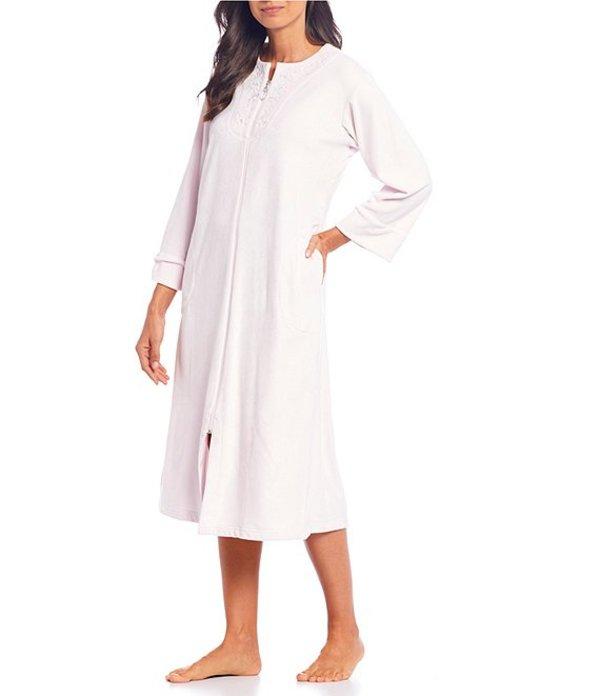 ミス エレーン レディース ナイトウェア アンダーウェア Petite Luxe Fleece Zip-Front Long Robe Orchid