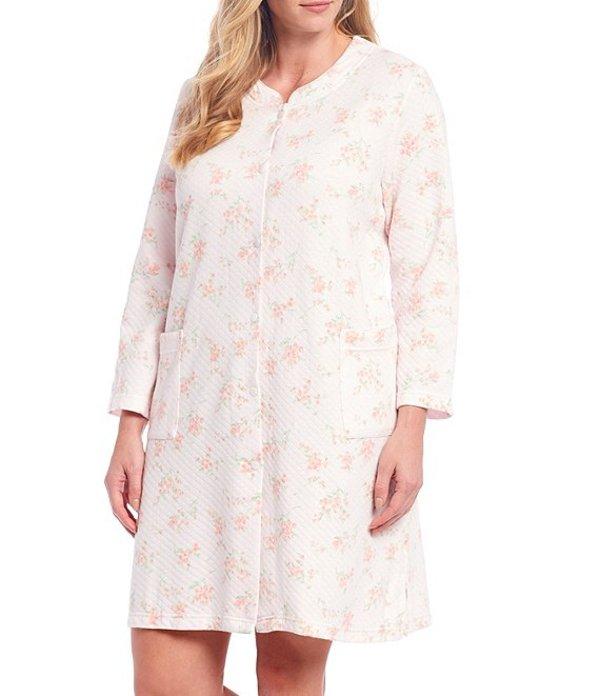ミス エレーン レディース ナイトウェア アンダーウェア Plus Silky Knit Floral Print Grip-Front Short Robe Pink