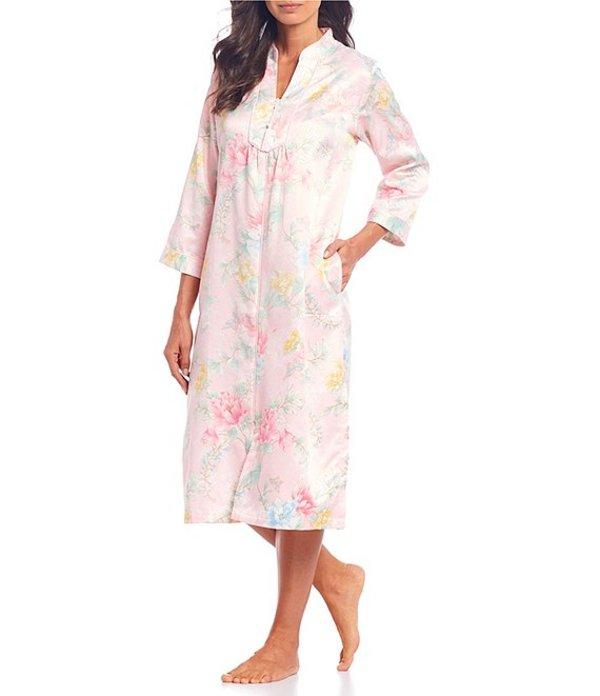 ミス エレーン レディース ナイトウェア アンダーウェア Floral Print Brushed Back Satin Zip-Front Long Robe Pink/Multi