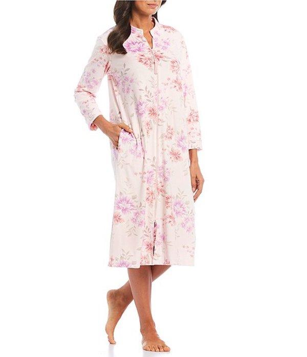 ミス エレーン レディース ナイトウェア アンダーウェア Floral Printed Luxe Fleece Zip-Front Long Robe Pink/Multi