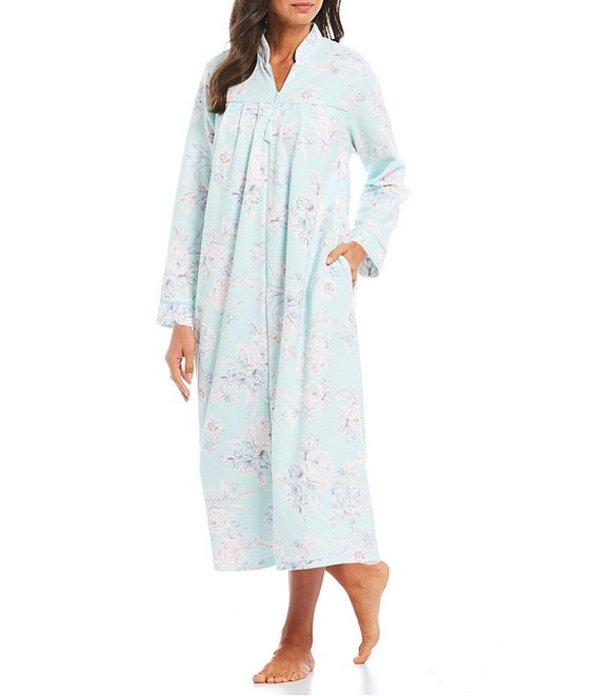 ミス エレーン レディース ナイトウェア アンダーウェア Floral Print Brushed Waffle-Knit Zip-Front Long Robe Blue/Mint