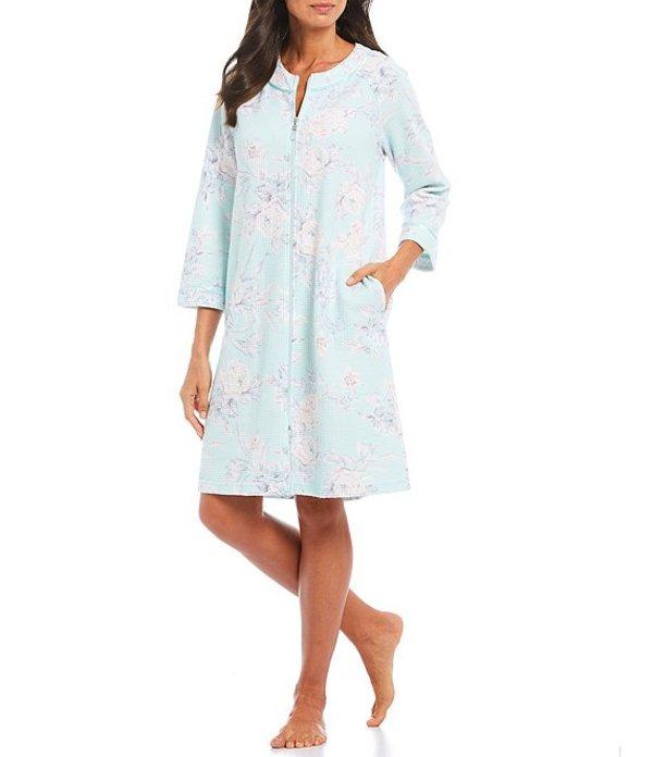 ミス エレーン レディース ナイトウェア アンダーウェア Waffle Knit Floral Printed Short Robe Blue/Mint
