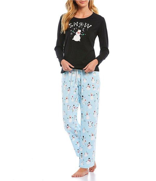 スリープ センス レディース ナイトウェア アンダーウェア Snowman Screen-Print Pajama Set Cool Blue