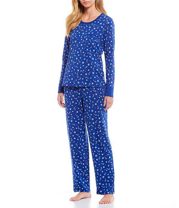 スリープ センス レディース ナイトウェア アンダーウェア Candycanes Printed Knit Pajama Set Mazarine Blue