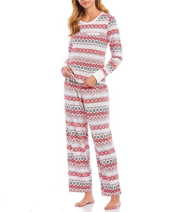 スリープ センス レディース ナイトウェア アンダーウェア Fairisle-Printed Knit Pajama Set Whitness