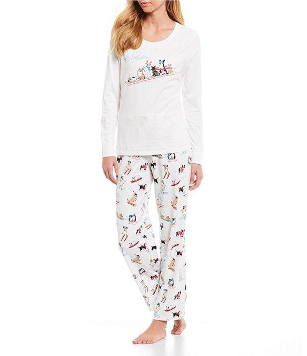 スリープ センス レディース ナイトウェア アンダーウェア Petite Dogs on a Sled Screen-Print Knit Pajama Set Soft White