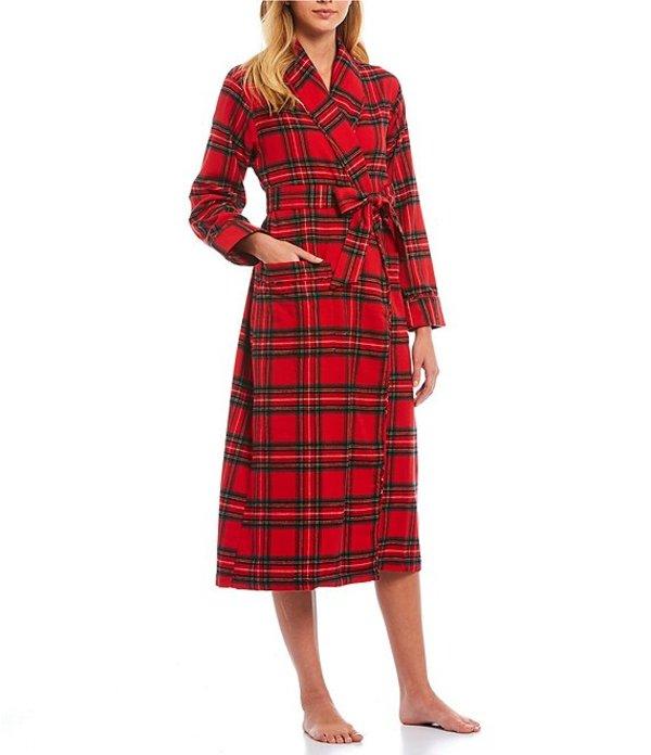 スリープ センス レディース ナイトウェア アンダーウェア Portuguese Flannel Reese Plaid- Print Wrap Cotton Robe Chinese Red