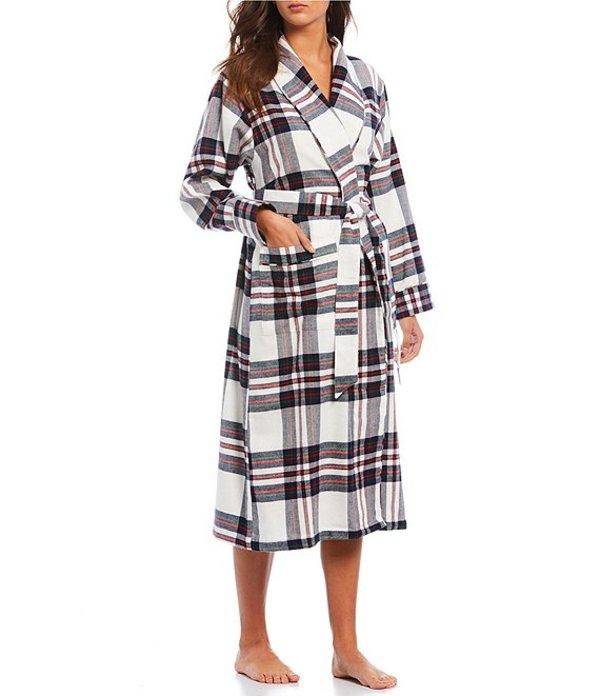 スリープ センス レディース ナイトウェア アンダーウェア Portuguese Flannel Windsor Plaid-Print Wrap Cotton Robe Soft White