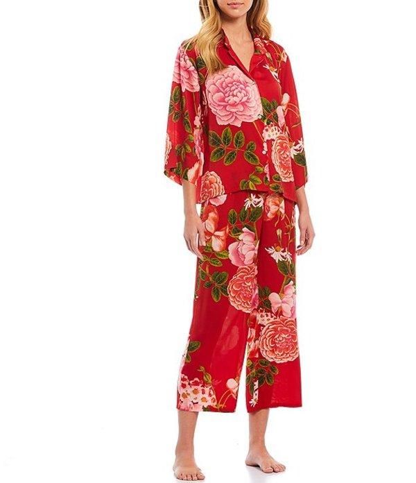 ナトリ レディース ナイトウェア アンダーウェア Arcadia Rose Printed Satin Pajama Cropped Pajama Set Azalea Pink/Red