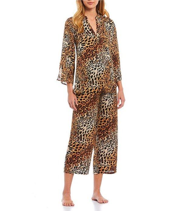 ナトリ レディース ナイトウェア アンダーウェア Leopard-Printed Satin Cropped Pajama Set Gold/Multi