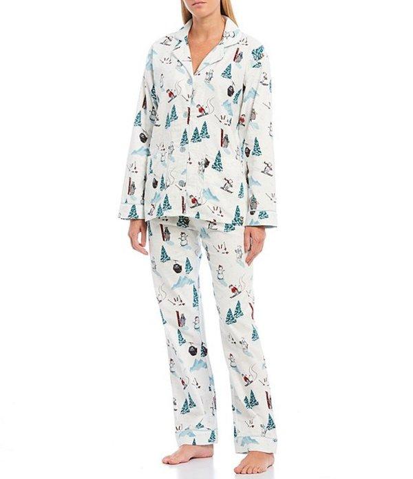 ピージェイサルベージ レディース ナイトウェア アンダーウェア Pj Salvage Bear Awake Ski-Printed Flannel Pajama Set Antique White