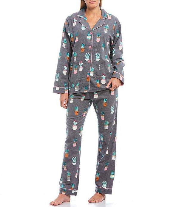 ピージェイサルベージ レディース ナイトウェア アンダーウェア Pj Salvage I'm A Succa For You Printed Flannel Pajama Set Grey