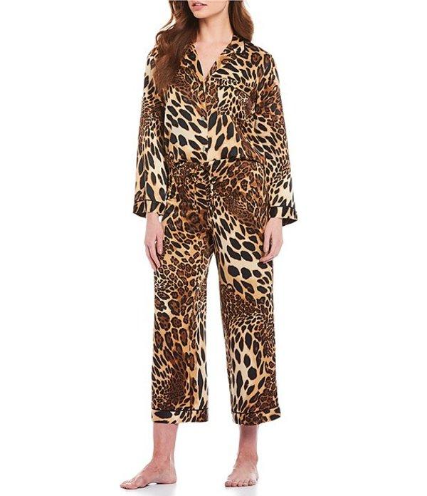 ナトリ レディース ナイトウェア アンダーウェア Leopard Print Satin Pajama Set Chestnut