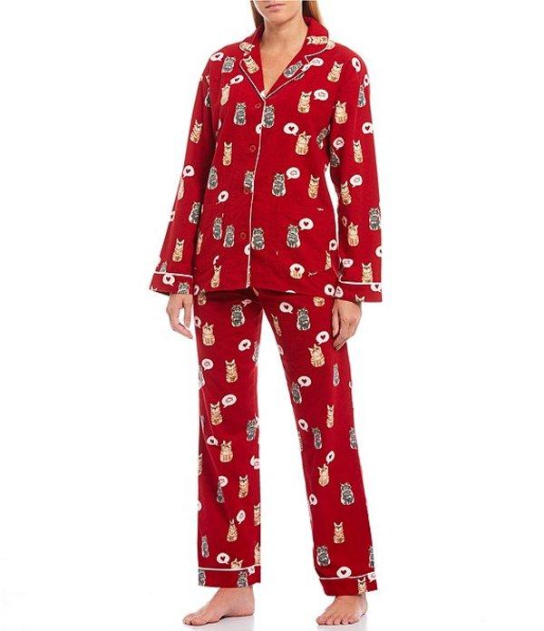 ピージェイサルベージ レディース ナイトウェア アンダーウェア Pj Salvage Cat Love-Printed Flannel Pajama Set Red