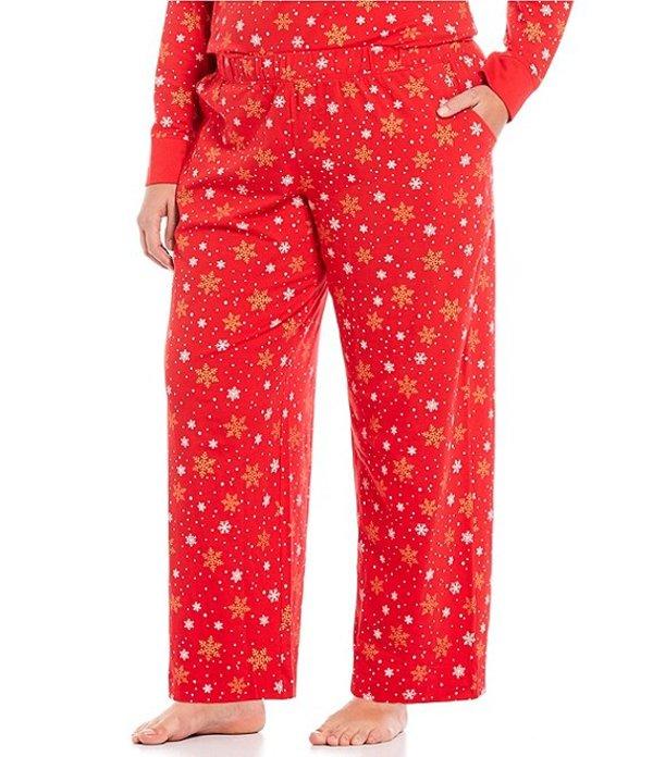 スリープ センス レディース ナイトウェア アンダーウェア Plus Foil Snowflakes Print Sleep Pants Chinese Red