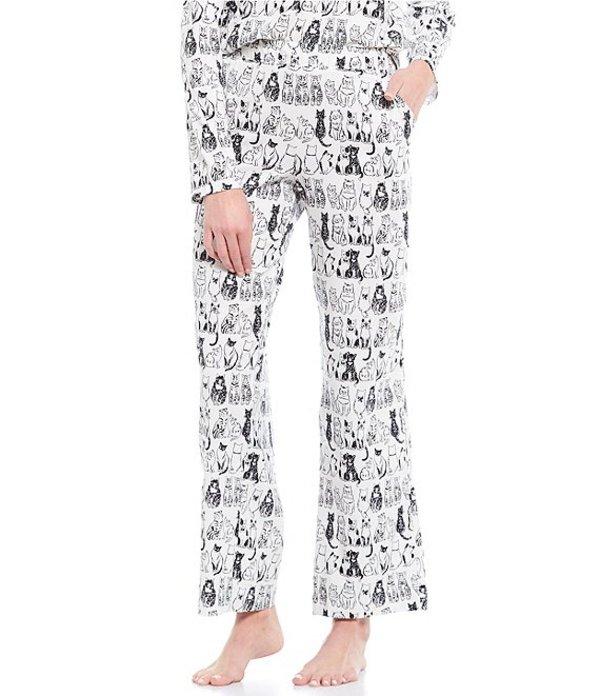 スリープ センス レディース カジュアルパンツ ボトムス Petite Doodle Cats Printed Knit Sleep Pants Soft White
