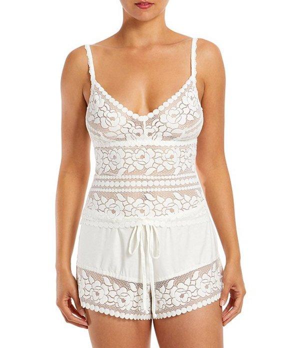 ハンキーパンキー レディース ナイトウェア アンダーウェア Beach Mode Lace Shorty Pajama Set Off White