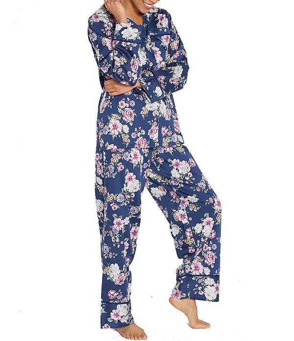 パピネール レディース ナイトウェア アンダーウェア Fleur Print Classic Woven Pajama Set Navy
