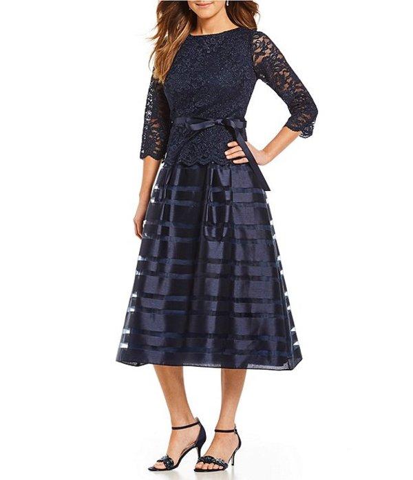 アレックスイブニングス レディース ワンピース トップス Belted Lace Tea Length Mock 2-Piece Dress Navy