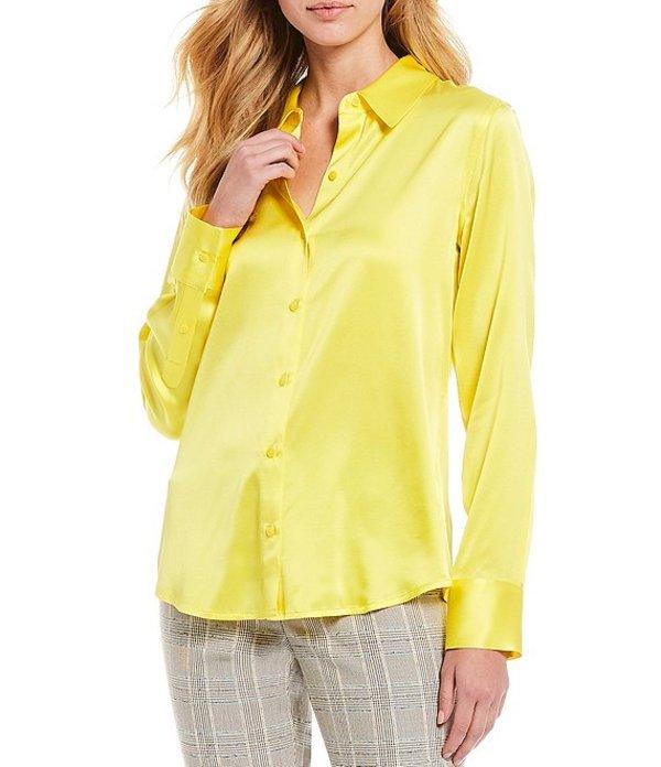 アントニオ メラーニ レディース シャツ トップス Yana Button Front Collared Stretch Silk Charmeuse Blouse Lemon