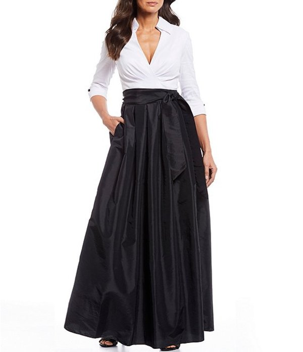 ジェシカハワード レディース ワンピース トップス Petite Size Colorblock Notch Collar Tie Waist Taffeta Ballgown White/Black