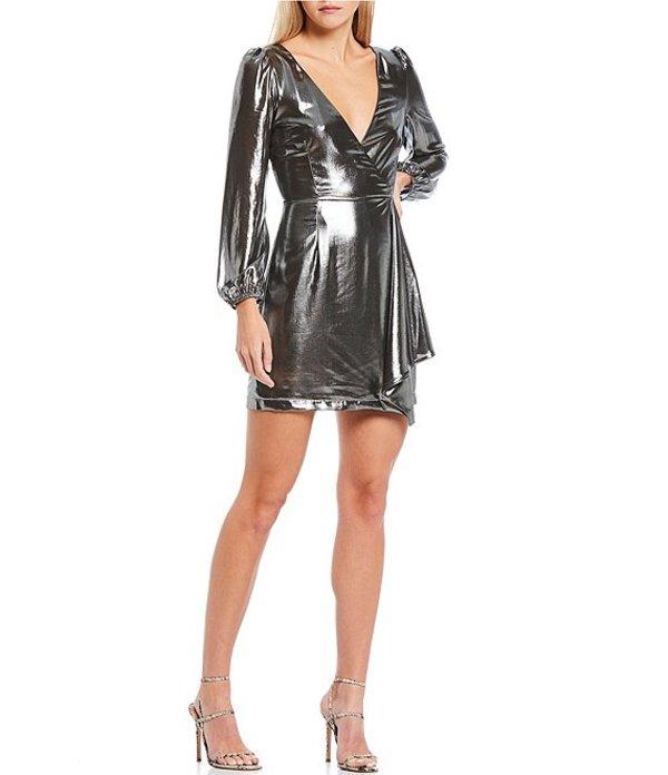 フレンチコネクション レディース ワンピース トップス Silver Metallic Faux Wrap Dress Silver Metallic