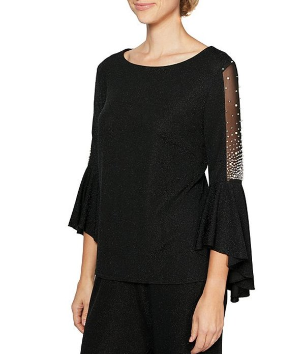 アレックスイブニングス レディース シャツ トップス Metallic Knit Pearl Trim Illusion Bell Sleeve Blouse Black