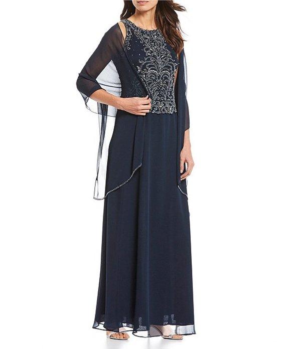 ジェーカラ レディース ワンピース トップス Petite Size Beaded A-Line Sleeveless Gown Navy/Multi