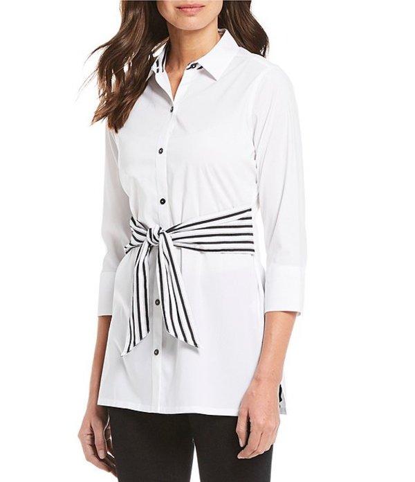 フォックスクラフト レディース シャツ トップス Michaela Non-Iron Stretch With Front Tie Tunic White