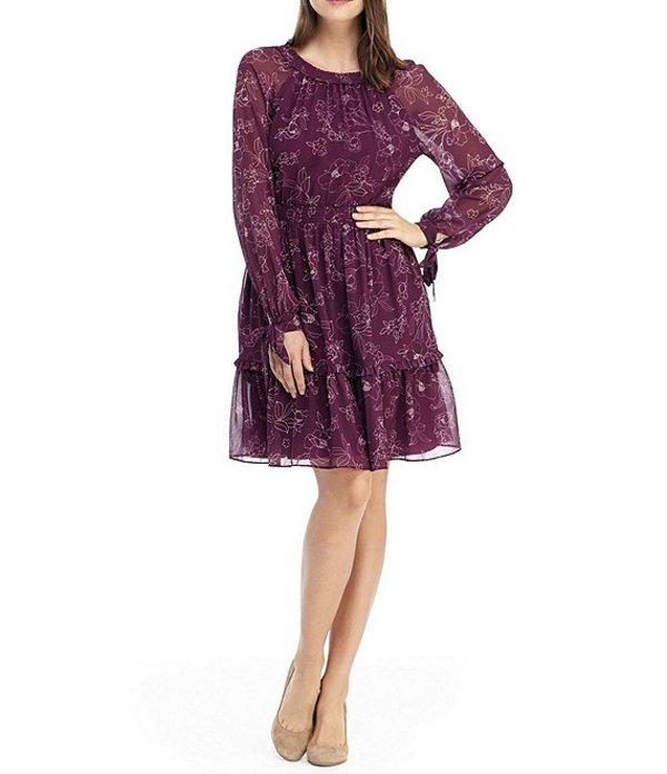 ギャルミーツグラム レディース ワンピース トップス Primrose Floral Print Smocked Waist Dress Wine