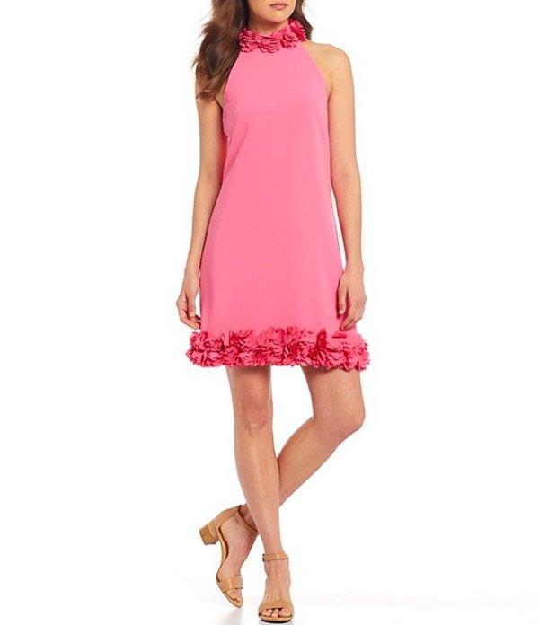 アレックスマリー レディース ワンピース トップス Arielle Floral Trim Sleeveless Crepe Shift Dress Carnation