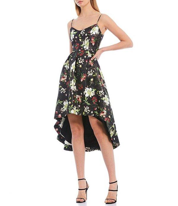 アイダンアイダンマトックス レディース ワンピース トップス Metallic Jacquard Floral Print Hi-Low Dress Black Floral Multi