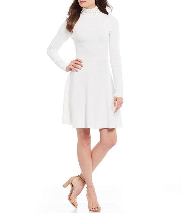 エリザジェイ レディース ワンピース トップス Pearl Mock Neck Long Sleeve Fit and Flare Dress Ivory