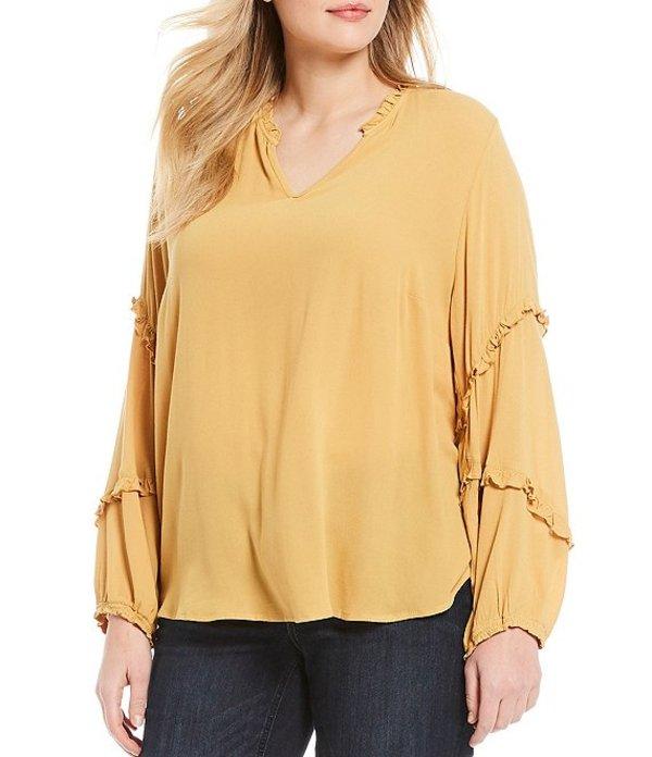 デモクラシー レディース シャツ トップス Plus Size Solid V-Neck Ruffle Cascade Blouson Sleeve Top Harvest Gold